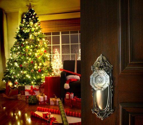 New door & Christmas decorations