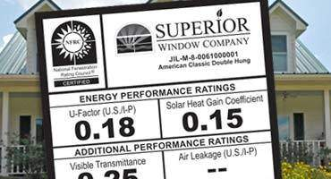 Superior Window Company Energy Efficiency Performance Sticker