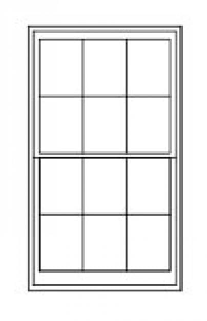 Double/Single Hung Replacement Window Diagram With Six Divided Glass Panes on Top & Bottom