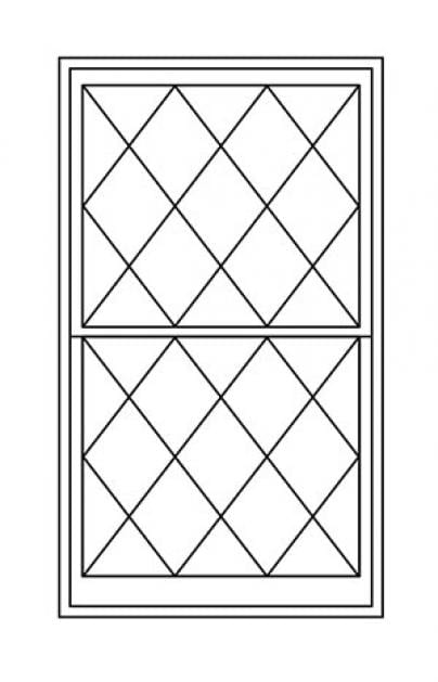 Double/Single Hung Replacement Window Diagram with Diamond Shaped Panes