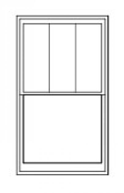 Double/Single Hung Replacement Window Diagram With Three Vertical Rectangular Glass Panes