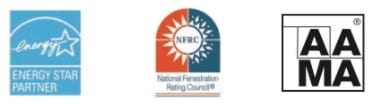 Energy Star logo - Left | NFRC Logo - Center | AAMA Logo - Left
