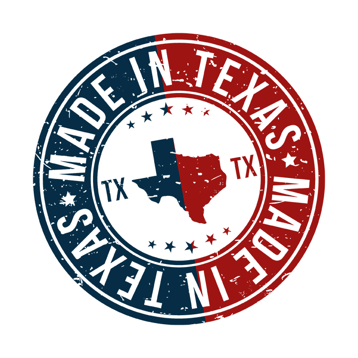 Texas Made Stamp with Texas State Colors and Imagery